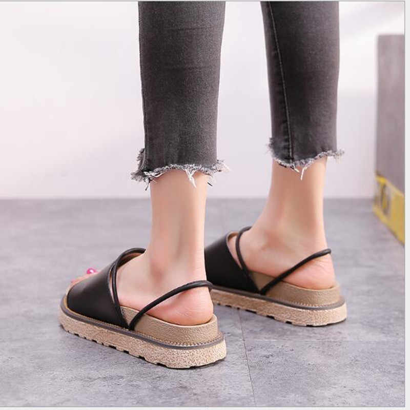 Sandals female summer flat students wild one shoes two wear Korean version of the thick bottom sandals a word slippers tide