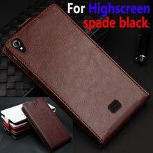 Классический Люкс Натуральная кожа Флип вверх и вниз кожаный чехол для Highscreen Spade черный телефон крышку корпуса с карт памяти