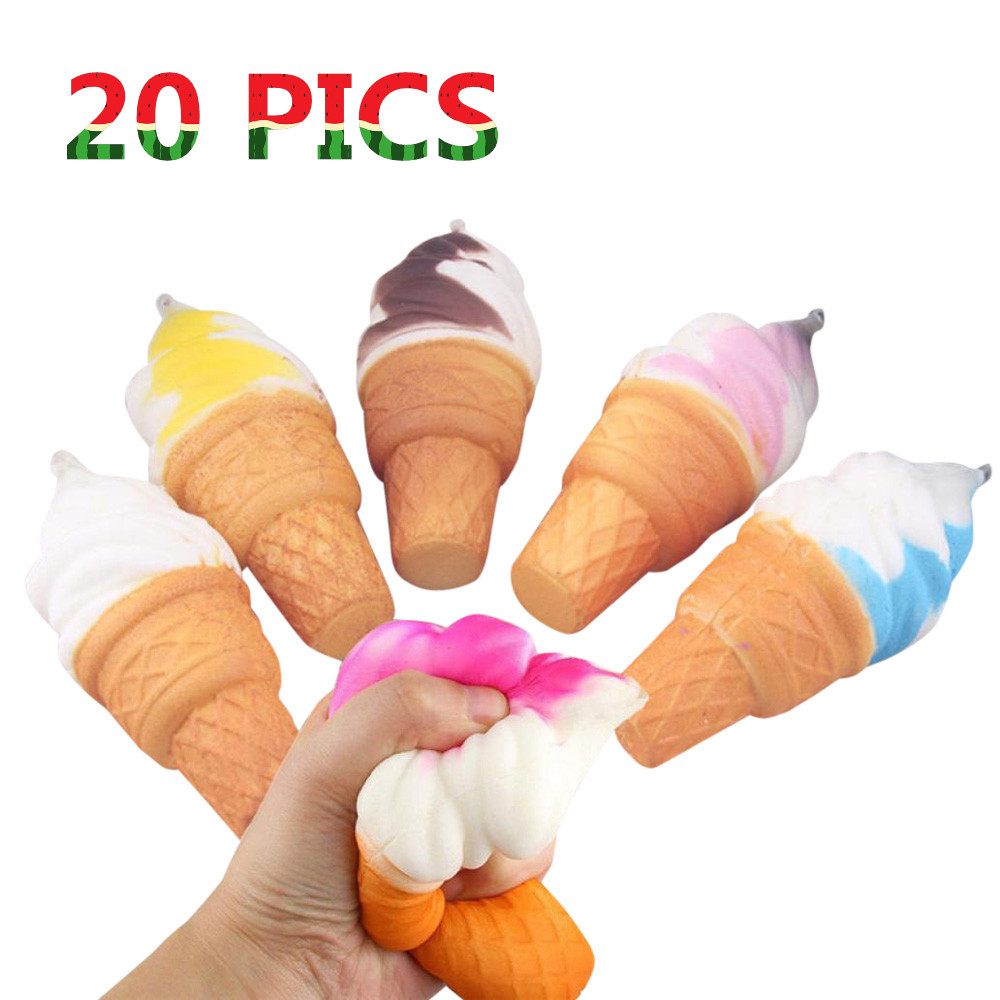 20 PICS Dropshopper Smooshy Mushy Toy Squishy Antistress 10cm Ice Cream Simulation Cake Slow Rising Cellphone Straps Bread Toys