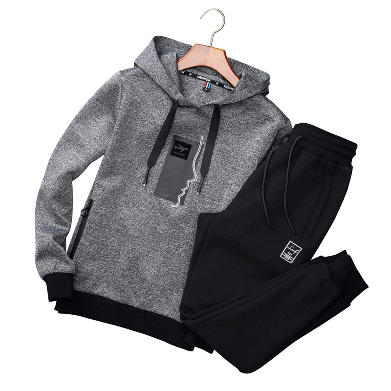 AmberHeard Men Sporting Suit Set Spring Autumn Fashion Hoodies Sweatshirt+Pant Sportswear 2 Piece Set Joggers Tracksuit For Men