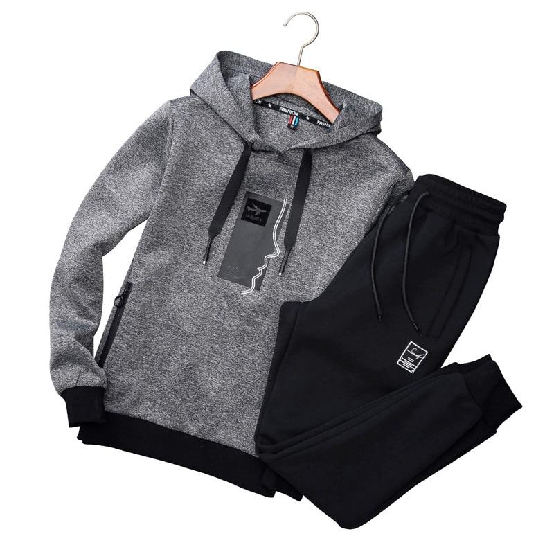 AmberHeard Men Sporting Suit Set Spring Autumn Fashion Hoodies Sweatshirt+Pant Sportswear 2 Piece Set Joggers Tracksuit For Men