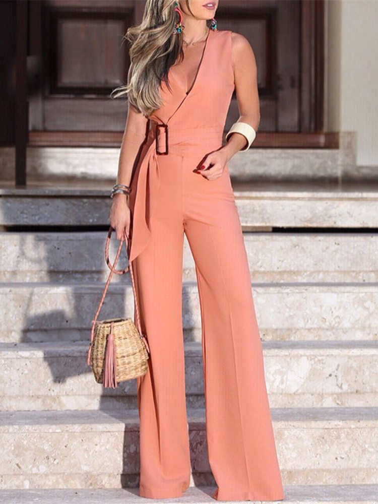 Jumpsuits Women Rompers Office-Wear Wide-Leg Elegant Summer OL V-Neck Solid BELTED-WAIST