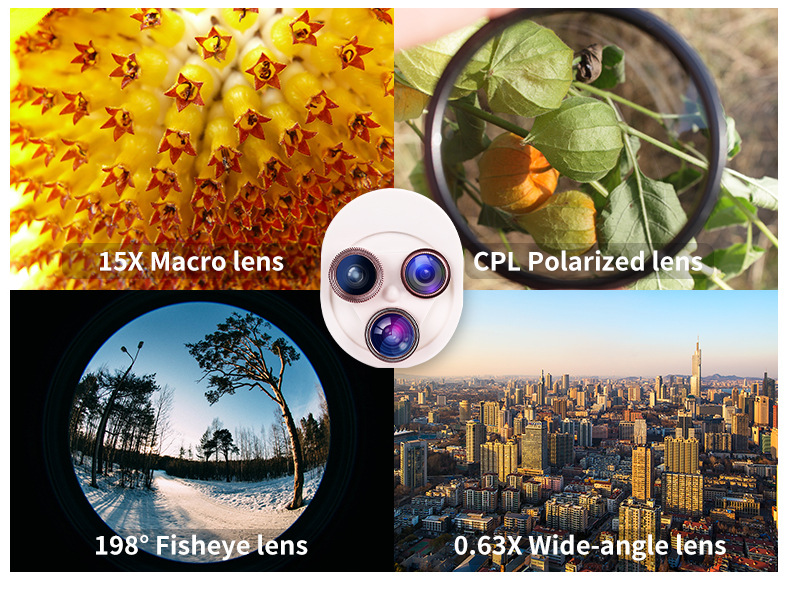 Cell Phone Camera Lens 4 in 1 Universal Professional Kit Fisheye Macro + Wide-angle + CPL Polarized Lens For iPhone Samsung 3