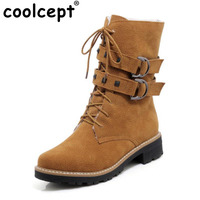 Coolcept Thick Platform Double Buckle Zipper Rivets Women Boots High heels Footwear Lace up Flock Warm Shoes Women Size 33-43