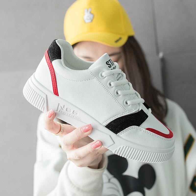 Blanc Femmes forme Ins Décontractées Bleu jaune Plate Chaussures rouge Femelle Lacets À D'été Appartements Printemps Tendances TCqBT