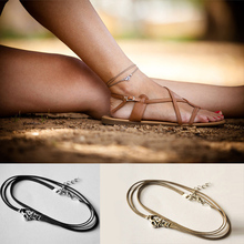 New Fashion Jewelry Multi-layer Anklet Chic Leather Foot Chain Ankle Bracelets & Bangles for Women Gift Sexy Accessories S5038