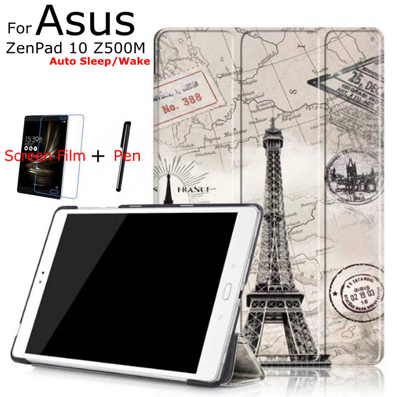 3 in 1 Luxury Stand Folding Smart Print PU Leather Cover for Asus ZenPad 3S 10 9.7'' Z500M Tablet Case+Free Screen Protector+Pen slim print case for acer iconia tab 10 a3 a40 one 10 b3 a30 10 1 inch tablet pu leather case folding stand cover screen film pen