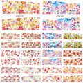 1X Nail Sticker NEW 2016 Blooming Flowers Patterns Water Transfer Decals Stamp Nail Art Decorations Watermark Tips#BN001-012