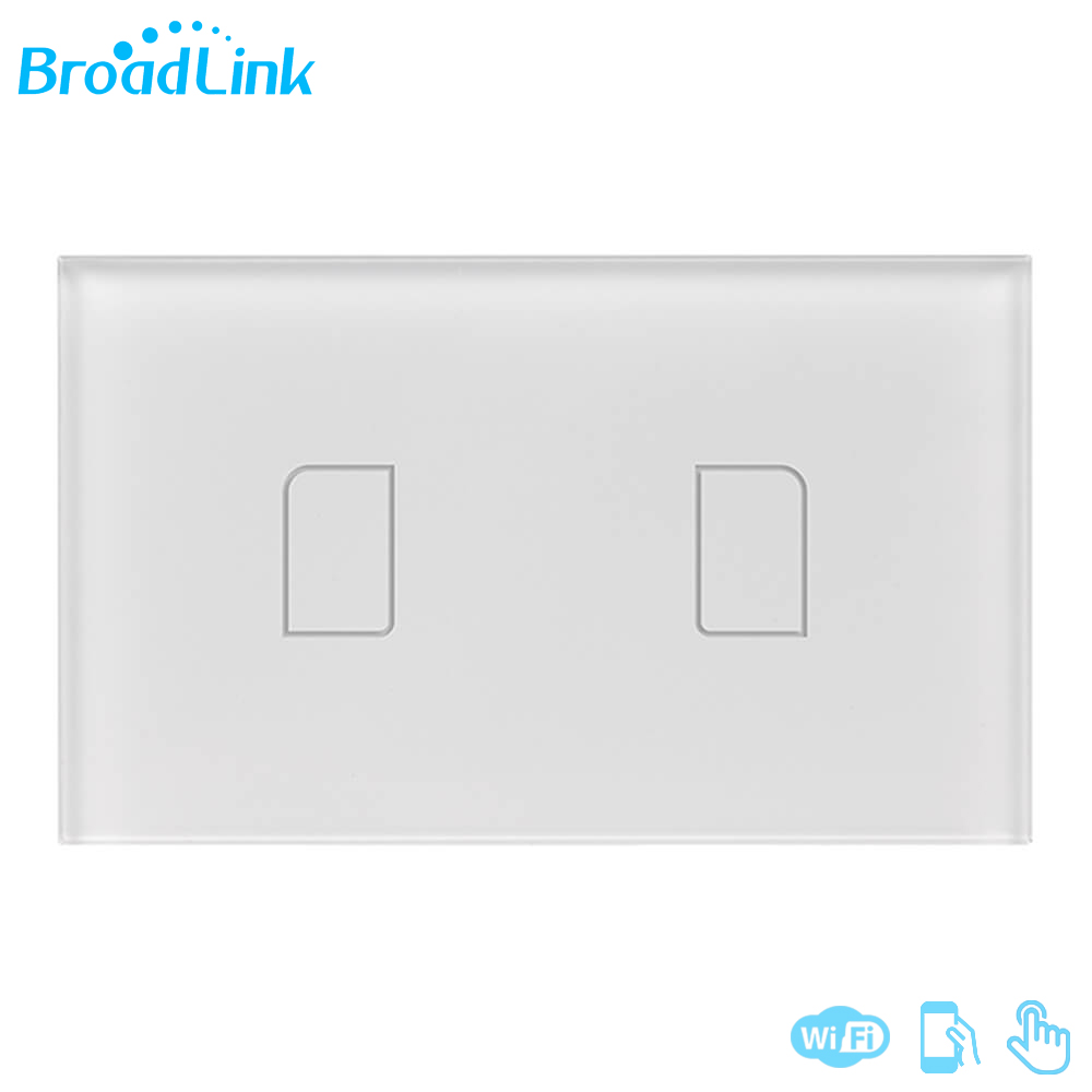 Hot Sale Broadlink TC2 2 Gangs 433Mhz Wall Light Switch US Standard Smartphone Remote Control Touch