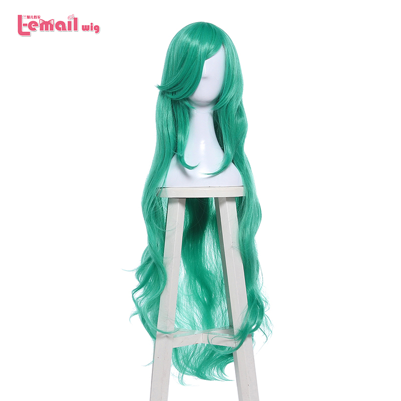 L-email wig Game Soraka Character LOL Cosplay Wigs 100cm/39.37inch Long Green Heat Resistant Synthetic Hair Perucas Cosplay Wig