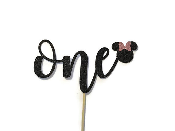 Awesome One Glitter Cake Topper Minnie Mouse First Birthday Smash Funny Birthday Cards Online Inifodamsfinfo