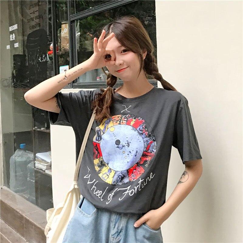 2019 nouveau T-shirt mode femme à manches courtes haut femme camiseta mujer grande taille été T-shirt décontracté femme modis lâche