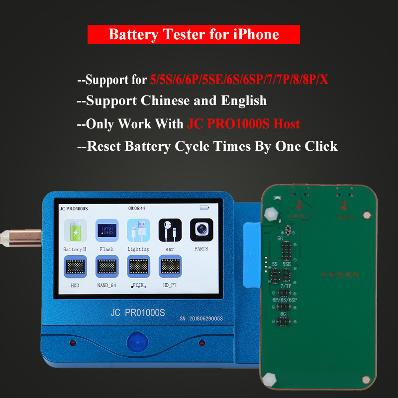 JC Pro1000S Multi Functional Battery Tester For iPhone 5 5S SE 6 6P 6S 6P 7