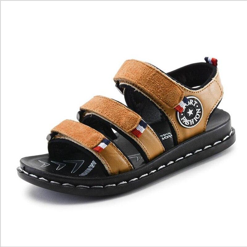 Летняя Детская натуральная кожа сандалии для мальчиков пляжная обувь ковбойские Детские Повседневные босоножки детские сандалии