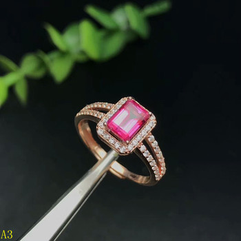 KJJEAXCMY Fine jewelry 925 pure silver inlaid with natural pink topaz jewelry ring jewelry.