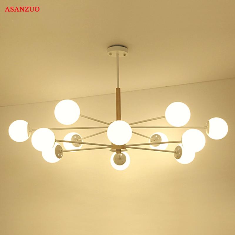 Post-Modern Iron Glass chandelier wooden bedroom suspended lighting Nordic Home Decoration living room Lighting Fixtures