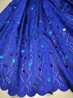 2018 african fabric 5yds/pce by dhl royal blue laser cut with big stones for women luxury dresses high quality nigerian fabric