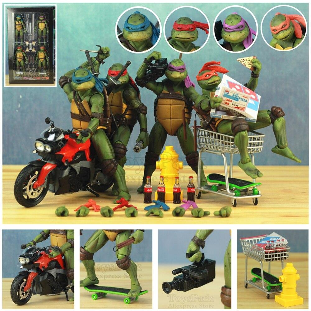 Ensemble de 4 tortues 1990's 7 figurine raphaël Leonardo Michelangelo Donatello Ninjas KO's NECA Gameshop jouets exclusifs poupée