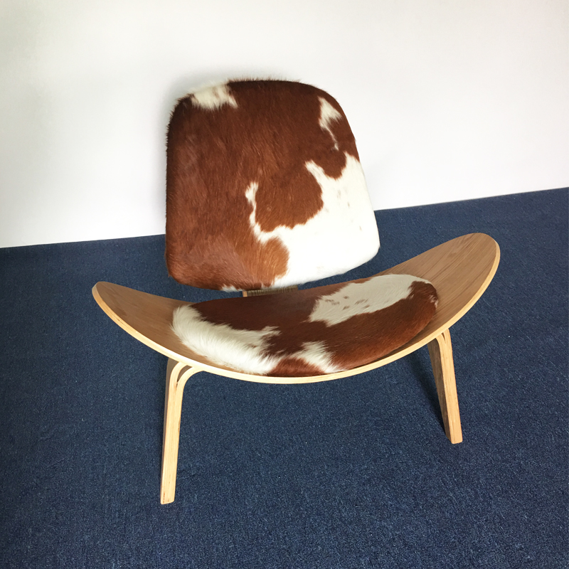 FREE SHIPPING U-BEST Wegner Shell Chair Plywood Mid Century Shell Chair Pony Leather Lounge Chair