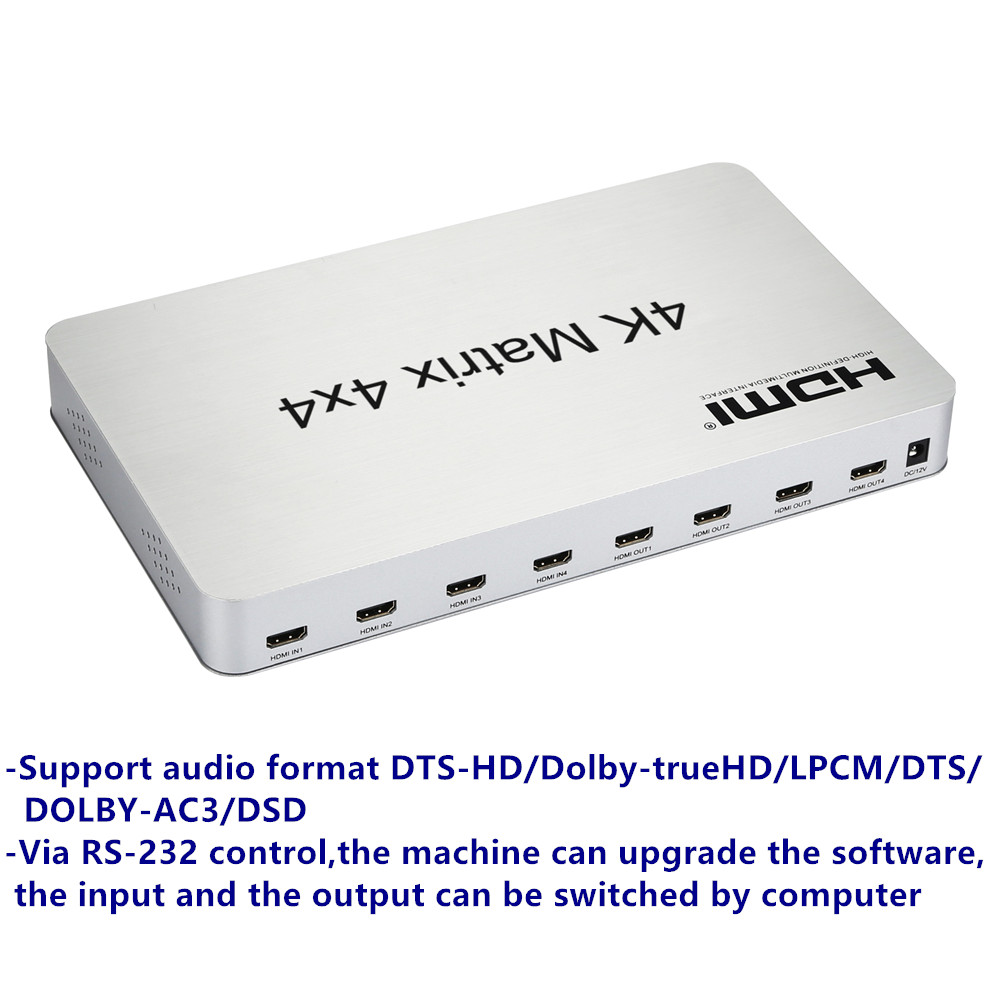 Image 2 - 4K*2K 3D HDMI Matrix Switch Switcher 4X4 IR/RS232 Control Male Connector DTS/AC3/DSD Power Supply For HDTV Display Free Shipping-in Computer Cables & Connectors from Computer & Office
