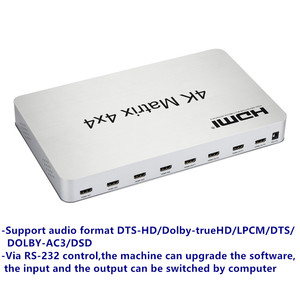 Image 2 - 4K*2K 3D HDMI Matrix Switch Switcher 4X4 IR/RS232 Control Male Connector DTS/AC3/DSD Power Supply For HDTV Display Free Shipping