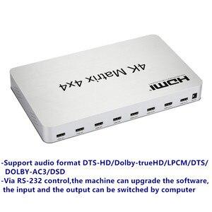 Image 2 - 4K * 2K 3D Matrix HDMI przełącznik 4X4 IR/RS232 kontroli złącze męskie DTS /AC3/DSD zasilanie do telewizora HDTV wyświetlacz darmowa wysyłka