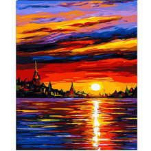 RIHE Sunset Sea-Painting by numbers,Modular canvas pictures for living room,DIY paint numbers kids&adults 40x50cm