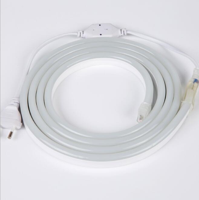 Fanlive 50 m 220 v Ha Condotto La Striscia Al Neon 2835 SMD IP65 Impermeabile Mini Tubo 1000LM 120 Leds/M Flessibile luce del Nastro del Led Con La Spina Di Alimentazione