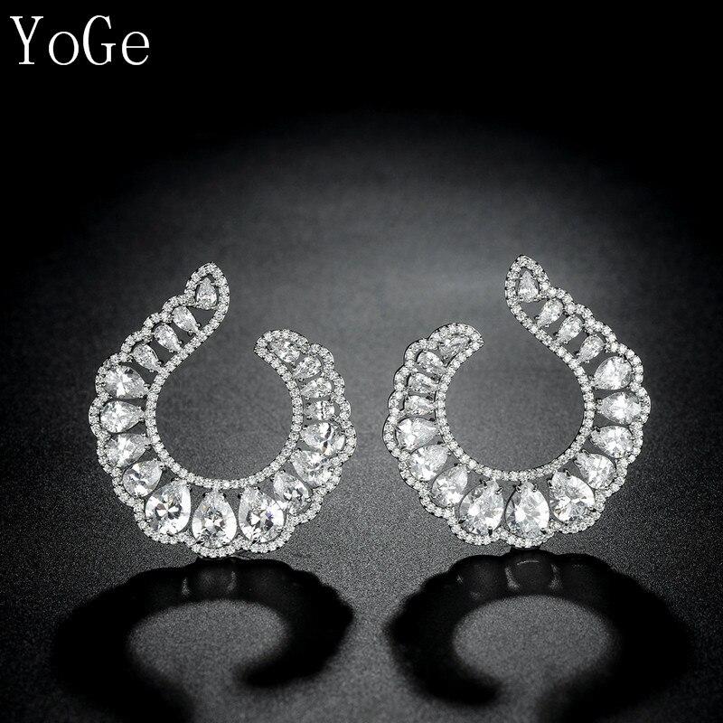 YoGe Statement Jewellery, E5921  Fashion AAA CZ  Big Bold Heavy Round Spakling  Stud Earrings . Copper Base,women's Accessaries