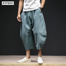 Japanese Style Summer Cotton Linen Men Pants Loose Large Size Fashion Casual Calf-length Harem