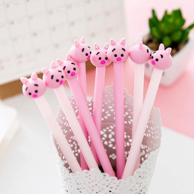Japan Lovely Cartoon Pink Pig Anime Gel Pens Kawaii Cute Animal Funny  Stationery Store School Office