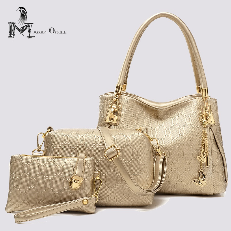 Composite bag 3 piece handbag set pu leather women bag composite bag set pu leather golden shoulder bag luxury women handbag
