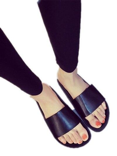 Slide preto Sandália Mulheres Sapatos de Verão Casuais Chinelos de Couro Liso Pu