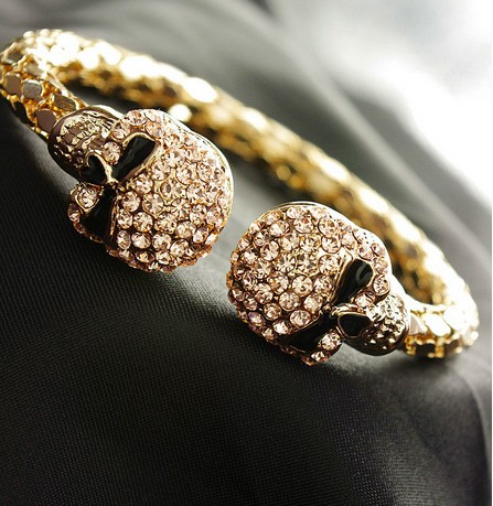 B1013 top fashion crystal gold and black skull bracelet skull bangle free shipping