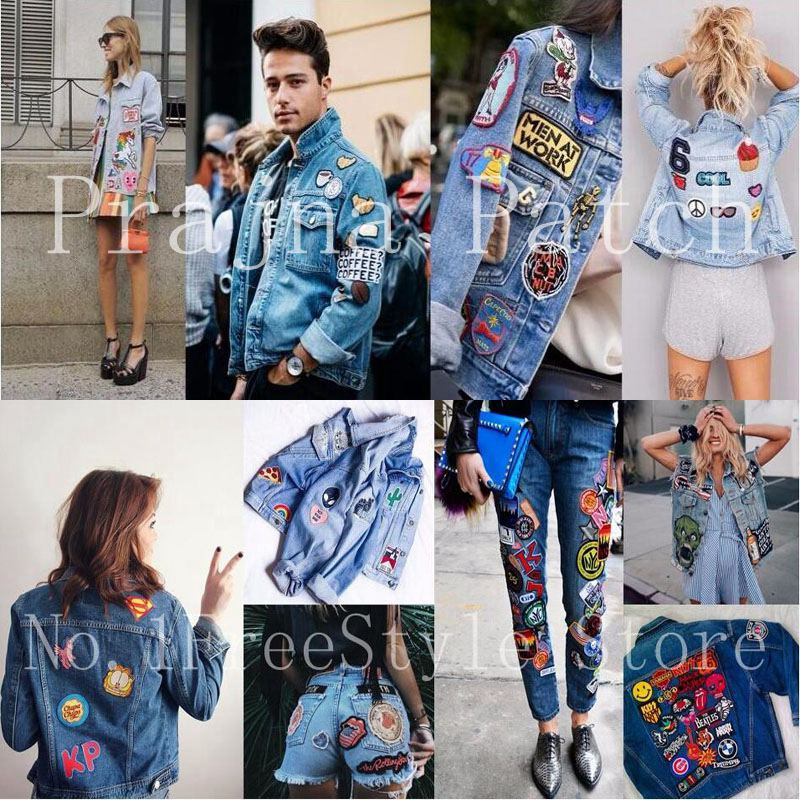 Prajna Dice Punk Patches Iron On Patch On Clothes Embroidered Patches For Clothing Applique DIY Skull Heart Badges On T shirt in Patches from Home Garden