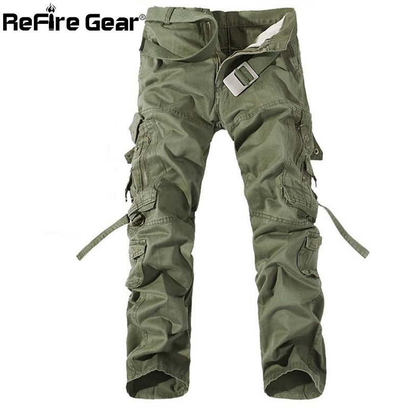 ReFire Gear Casual Army Military Style Cargo Pants Men Multi-Pocket Combat Tactical Pants Fashion Autumn Pants Cotton Trousers