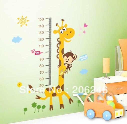 Autocollant mural de grande taille 100*180 cm | Règle de mesure de taille girafe bébé enfant, autocollant mural