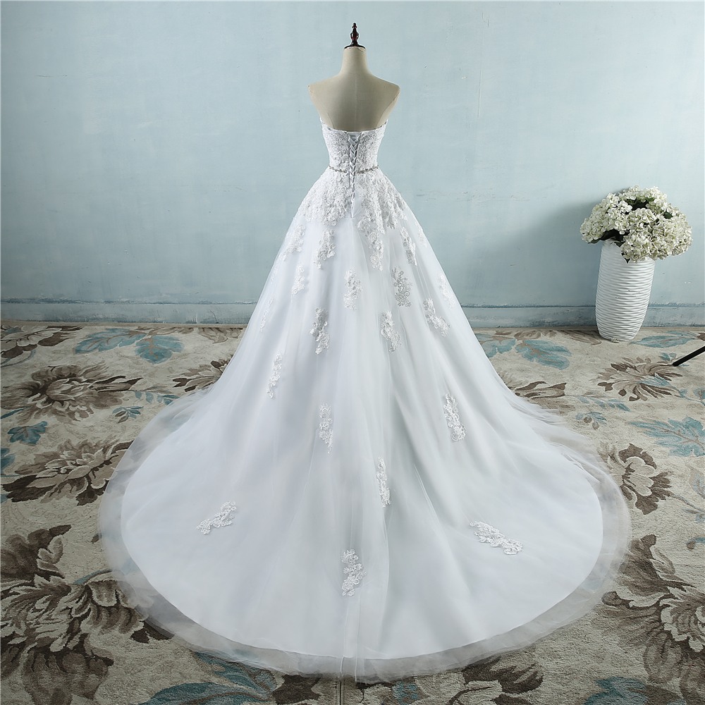 ZJ9032 lace flower Sweetheart White Ivory Fashion Sexy Crystal Waist line 2019 Wedding Dresses for brides plus size 2-26W