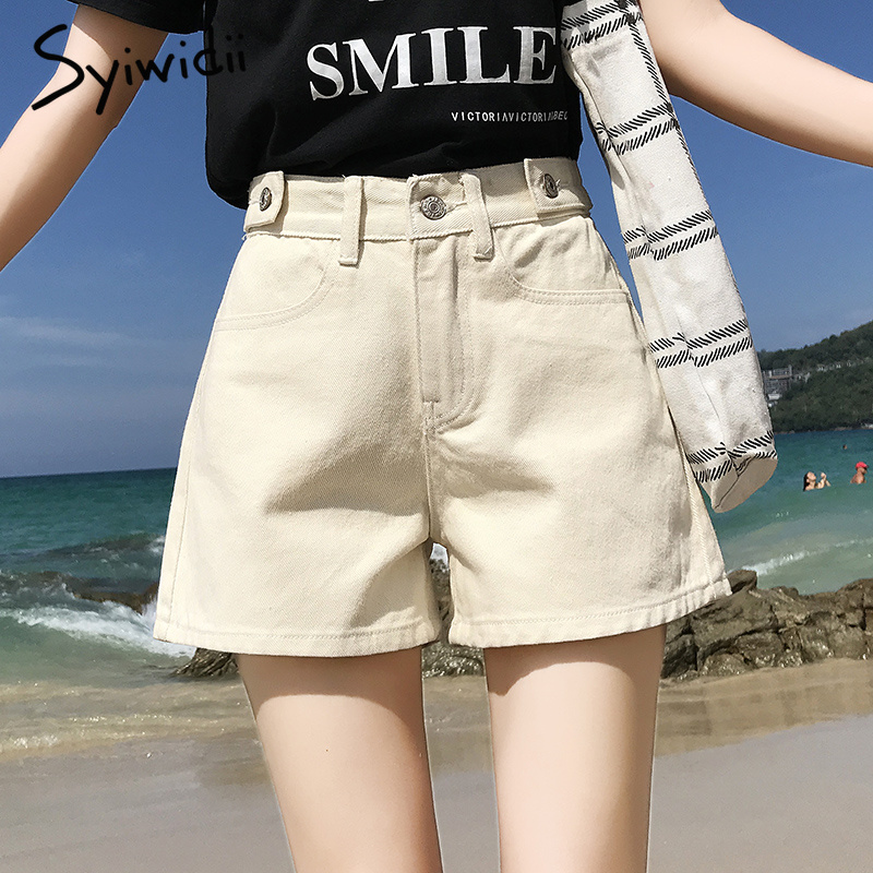 Women's denim shorts Summer mom   jeans   high waist shorts Woman 2019 plus size short femme blue gray beige Wide leg shorts   jeans