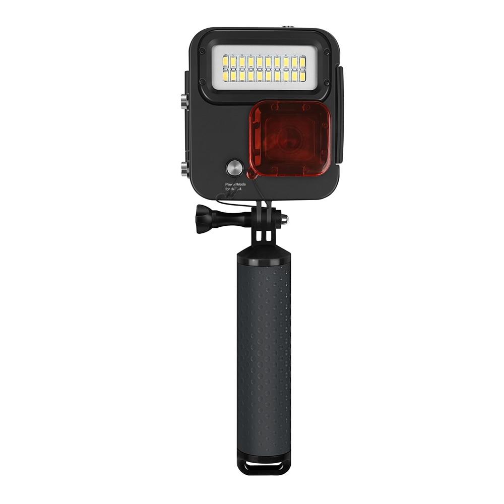 FGHGF 1000LM buceo luz LED impermeable funda para GoPro Hero 7 6 5 negro 4 3 + Cámara de Acción plateada con accesorio para Go Pro 7 6
