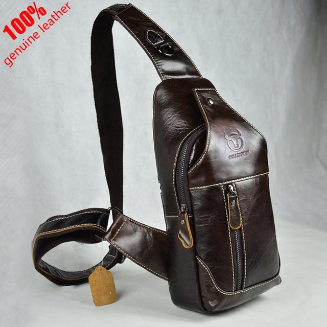 Hot 2016 New brand design fashion black genuine leather bag chest pack men messenger bags vintage shoulder bags bolsa masculina