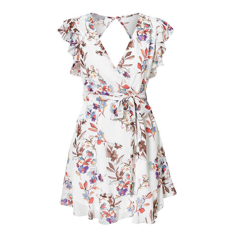 2019 חדש בציר לבן פרחוני הדפסת שיפון שמלת נשים קיץ סקסי ללא משענת קצרה שמלת נקבה מסיבת חג שמלת Vestidos