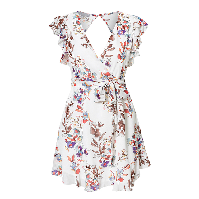 Short white chiffon dress with ruffled sleeves