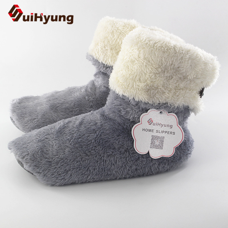Suihyung Winter Warm Women's Shoes Plush Round Toe Mid-calf Indoor Boots Bedroom Flock Soft Bottom Floor Shoes Flat Solid Botas
