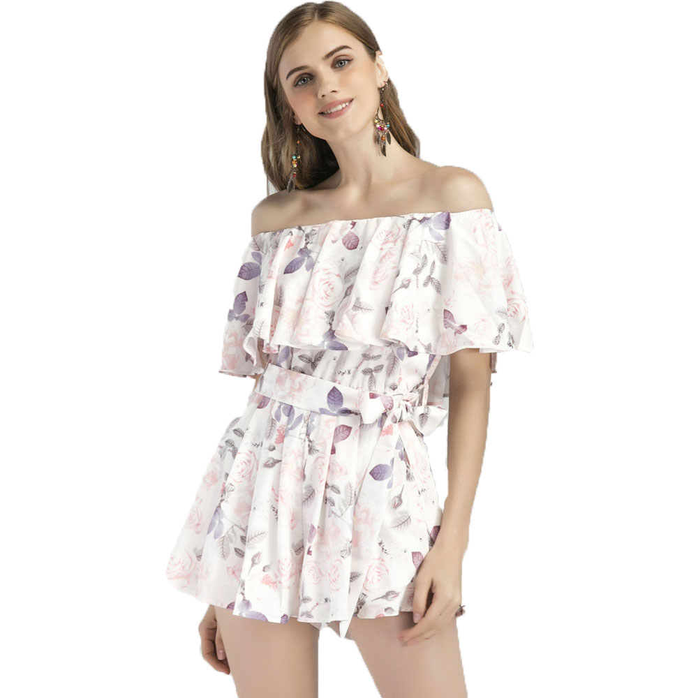 Rompers Womens Jumpsuit Floral Print Ruffles Playsuits Off Shoulder Female Casual Summer Clothing Short Women Playsuits White