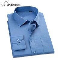 Uni Splendor 2016 Men Dress Shirts Business Formal Long Sleeve Cotton Shirt Men Fashion Overalls Striped