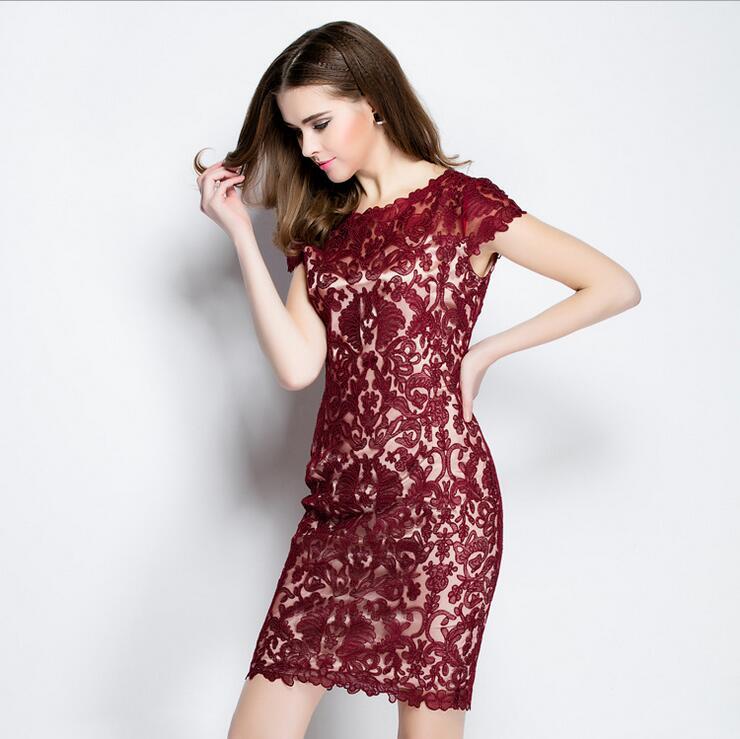 Été dames sexy Slim Skinny femmes vêtements sans manches moulante net fil dentelle broderie patchwork paquet hanches robes 027