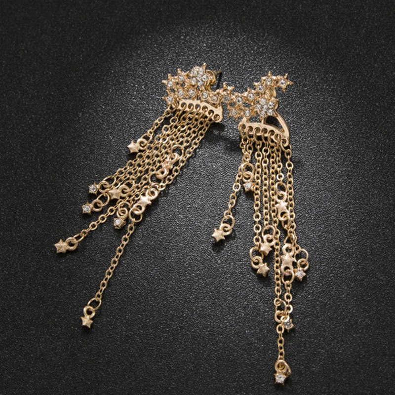 ファッションクリスタルスターのイヤリングゴールドカラー合理化されたタッセルロング女性ガールジュエリーギフト卸売