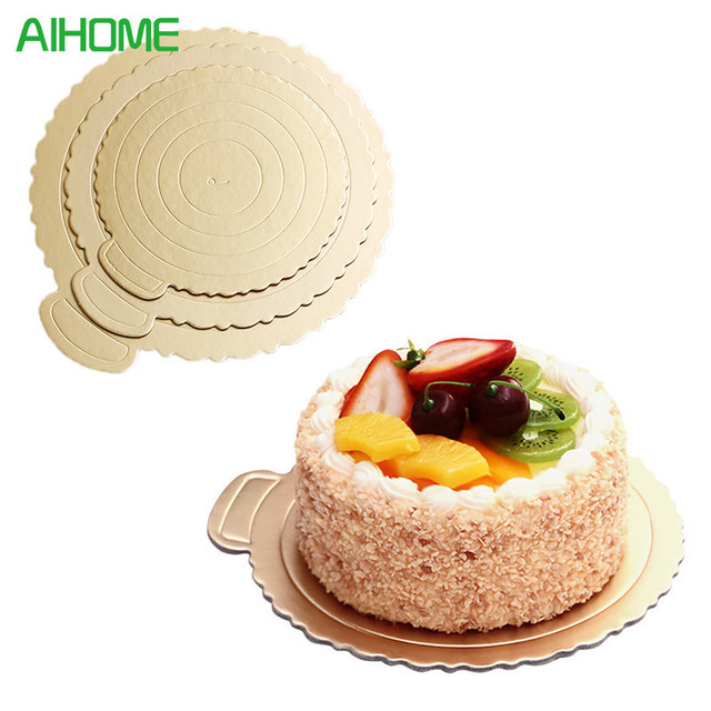 5pcsSet Round Mousse Cake Boards Gold Paper Cupcake Dessert - Wedding Cake Boards