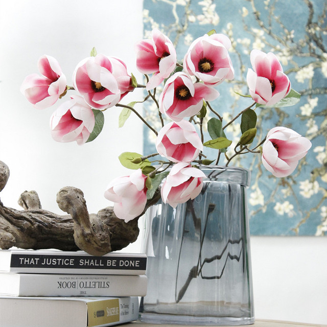 3pcs Artificial Magnolia Flower Branch White Plastic Flores Diy Wedding Arch Decorations Fake Flowers Home Table